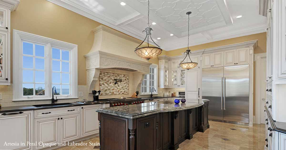 Artesia breathtaking, traditional kitchen with contrasting colors.