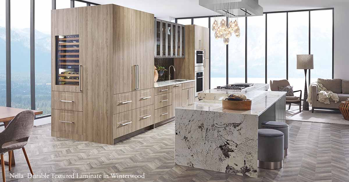 Kitchen Are view of Nella Contemporary Textured Laminate in Winterwood Finish Color
