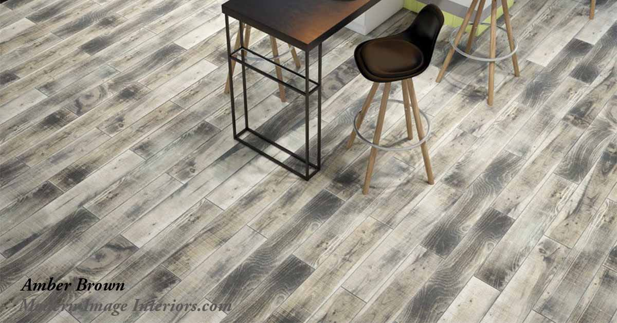 Amber 6 by 36 Porcelain WoodLook Tile Plank Floor
