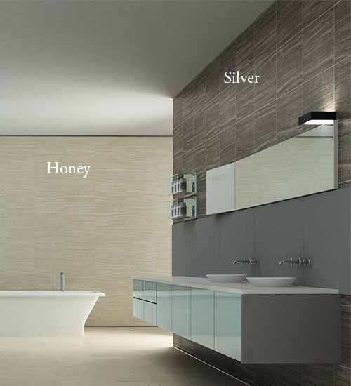 Gizza Silver WoodLook Tile Plank on the wall