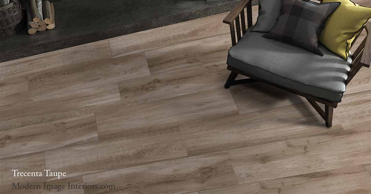 Trecenta 9 1/2 by 34 1/2 Non-Rectified Porcelain WoodLook Tile Plank