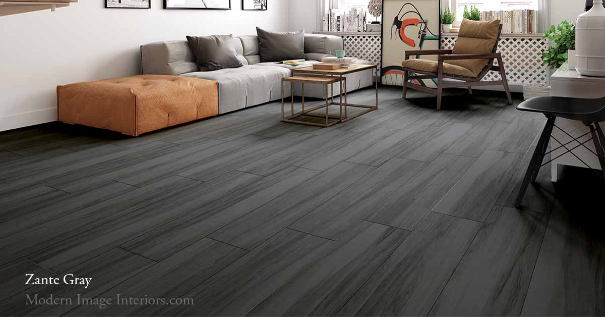 Zante Gray 9 by 47 Non-Rectified Porcelain WoodLook Tile Plank